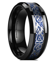 8mm - Unisex or Men's Tungsten Wedding Band. Celtic Mens Wedding bands Black with Silver and Blue Resin Inlay. Celtic Knot Tungsten Carbide Ring