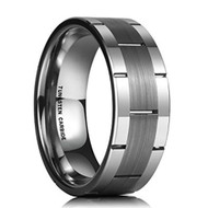 8mm - Unisex or Men's Wedding Band. Silver Tone Line Pattern Tungsten Wedding Band Ring Comfort Fit