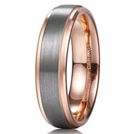 6mm - Unisex, Men's or Women's Tungsten Wedding Band Ring. Silver and Rose Gold Duo Tone Top. Comfort Fit Wedding Rings