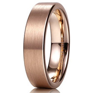 6mm - Unisex or Men's Tungsten Wedding Bands. Rose Gold Ring with High Polish Sides. Matte Finish Tungsten Carbide. Comfort Fit