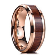 8mm - Unisex or Men's Wedding Bands. Rose Gold Tone Tungsten Ring with High Polish Dark Wood Inlay - Mens Wedding Rings Silver | Beveled Edges