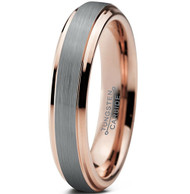 4mm - Women's Tungsten Wedding Band Ring for Women. Silver and Rose Gold Duo Tone Top. Comfort Fit Wedding Rings