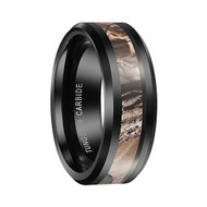 8mm - Unisex or Men's Tungsten Wedding Band . Black Tone with Brown and Tan Camouflage Carbon Fiber Inlay