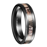 6mm - Unisex, Women's Tungsten Wedding Band. Black band with Camouflage Tan and Brown Inlay Tungsten Carbide Ring