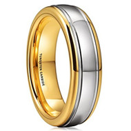 6mm - Unisex or Women's Tungsten Wedding Band. Gold and Silver Dome Gunmetal Tungsten Carbide Ring