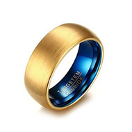 8mm - Unisex or Men's Tungsten Wedding Band Ring for Men. Yellow Gold and Blue Round Domed Brushed. Comfort Fit Wedding Rings
