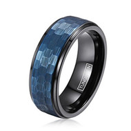8mm - Unisex or Men's Tungsten Wedding Bands. Duo Tone Black and Blue Hammered Finish Men's Tungsten Carbide Ring