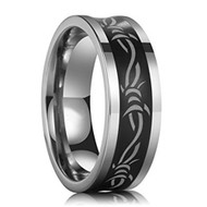 8mm - Unisex or Men's Tungsten Wedding Band. Black with Laser Etched Celtic Barbed Wire Knot Tungsten Carbide Ring. Comfort Fit