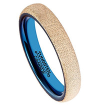 4mm - Unisex or Women's Tungsten Wedding Band. Rose Gold Tone Sand Blasted Glitter Ring with Inner Blue Tone. Round Domed Brushed. Comfort Fit