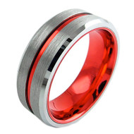8mm - Unisex or Men's Tungsten Wedding Band. Silver Matte Finish with Double Red Tone Tungsten Carbide Ring. Beveled Edge