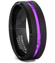 8mm - Unisex or Men's Tungsten Wedding Band. Black Matte Finish Tungsten Carbide Ring with Purple Beveled Edge Wedding Ring