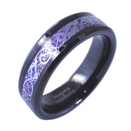 6mm - Unisex or Women's Wedding Band. Womens Wedding Rings Black Resin Inlay Purple Celtic Knot Tungsten Carbide Ring Wedding Band