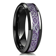 6mm - Unisex or Women's Tungsten Wedding Band. Celtic Wedding Band Black with Purple Resin Inlay Celtic Knot. Tungsten Carbide Ring