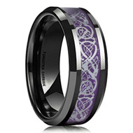 8mm - Unisex or Men's Wedding Band. Mens Wedding Rings Black Resin Inlay Purple Celtic Knot Tungsten Carbide Ring Wedding Band