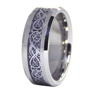 8mm - Unisex or Men's Wedding Band. Silver Resin Inlay Purple Celtic Knot Tungsten Carbide Ring Wedding Band