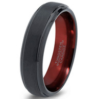 6mm - Unisex or Women's Wedding Band. Womens Wedding Rings Black Matte Finish Tungsten Carbide Ring with Inside Red Beveled Edge.