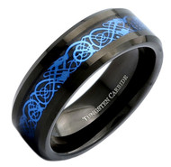 8mm - Unisex or Men's Tungsten Wedding Band. Celtic Wedding Band. Black Resin Inlay Sky Blue Celtic Knot Tungsten Carbide Ring