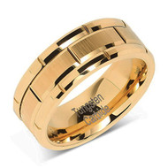 8mm - Unisex or Men's Wedding Band. Yellow Gold Tone Brick Pattern Tungsten Wedding Band Ring Comfort Fit