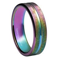 4mm - Women's Tungsten Wedding Band. Rainbow Anodized Tungsten Carbide Wedding / Engagement Rings