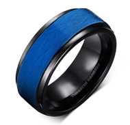 8mm - Unisex or Men's Tungsten Wedding Bands. Duo Tone Black and Blue Grain Finish Men's Tungsten Carbide Ring