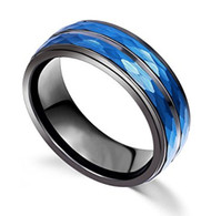 8mm - Unisex or Men's Tungsten Wedding Bands. Duo Tone Black and Blue Hammered Finish Tungsten Carbide Ring Wedding Band