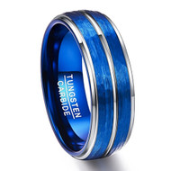 8mm - Unisex or Men's Tungsten Wedding Bands. Duo Tone Silver and Blue Hammered Finish Men's Tungsten Carbide Ring Wedding Band