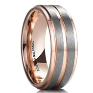 8mm - Unisex or Men's Tungsten Wedding Band. Rose Gold and Silver Matte Finish Tungsten Carbide Ring. Beveled Edge