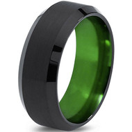 8mm - Unisex or Men's Tungsten Wedding Band. Green Polished Inside and Black Matte Finish Tungsten Carbide Ring with Beveled Edge