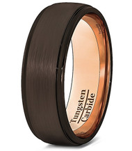 8mm - Unisex or Men's Tungsten Wedding Band. Brown with Rose Gold. Matte Finish Tungsten Carbide Ring. Beveled Edge