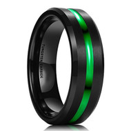 8mm - Unisex or Men's Wedding Band. Mens Wedding Rings Black Matte Finish Tungsten Carbide Ring with Green Line. Beveled Edge Wedding Band