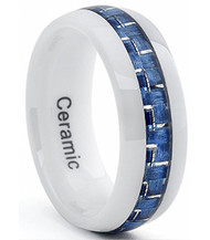 8mm - Unisex or Men's Tungsten Wedding Band Ring (Mens Wedding Rings White Tone with Blue Carbon Fiber Inlay). Men's Wedding Bands