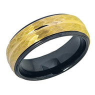 8mm - Unisex or Men's Tungsten Wedding Bands. Duo Tone Black and Yellow Gold Hammered Finish Men's Tungsten Carbide Ring Wedding Band