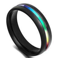 6mm - Unisex or Women's Titanium Wedding Bands. Rainbow Anodized Black Domed Top Wedding Engagement Ring