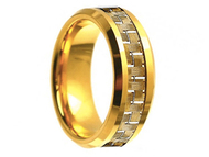 8mm - Unisex or Men's Tungsten Wedding Bands. Gold Plated with Gold Tone Carbon Fiber Inlay