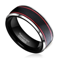 8mm - Unisex or Men's Tungsten Wedding Band. Black Matte Finish Tungsten Carbide Ring with Double Red Groove Stripes. Beveled Edge
