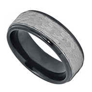 8mm - Unisex or Men's Tungsten Wedding Bands. Duo Tone Black and Silver Hammered Finish. Men's Tungsten Carbide Ring Wedding Band
