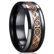 8mm - Unisex or Men's Ceramic Wedding Band. Celtic Wedding Band Black with Rose Gold Resin Inlay. Celtic Knot Ring
