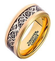 8mm - Unisex or Men's Tungsten Wedding Band. Gold Resin with Inlay of Black and Gold. Celtic Knot Tungsten Carbide Ring