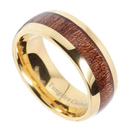 8mm - Unisex or Men's Tungsten Wedding Bands. Wood Inlay and Yellow Gold Tone. Tungsten Ring with High Polish Dark Wood Inlay. Domed Ring