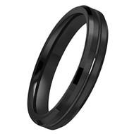4mm - Women's Tungsten Wedding Band. Black Beveled Edge Polished Brushed Comfort Fit Ring.