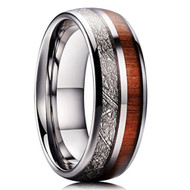 8mm - Unisex, Women's or Men's Wedding Tungsten Wedding Band. Wood Inlay with Inspired Meteorite. Domed Tungsten Carbide Ring. Comfort Fit