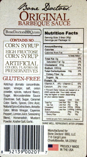 Original Barbecue Nutrition Facts