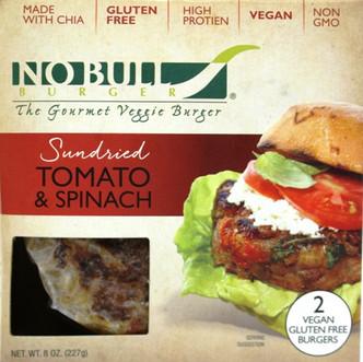 Sundried Tomato & Spinach Veggie Burger - No Bull Brand - Gluten Free & Vegan