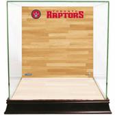 Toronto Raptors Logo On Court Background Glass Basketball Display Case