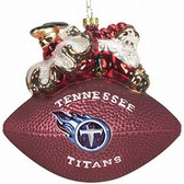 """Tennessee Titans 5 1/2"""" Peggy Abrams Glass Football Ornament"""