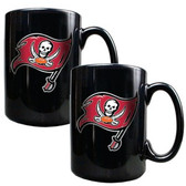 Tampa Bay Buccaneers 2pc Black Ceramic Mug Set - Primary Logo