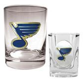 St. Louis Blues Rocks Glass & Square Shot Glass Set - Primary Logo