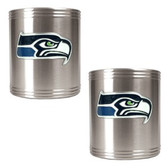 Seattle Seahawks 2pc Stainless Steel Can Holder Set
