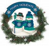 "Seattle Mariners 20"" Team Snowman Wreath"