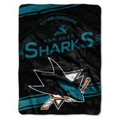 "San Jose Sharks 60""x80"" Royal Plush Raschel Throw Blanket - Stamp Design"
